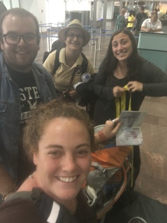 In the Airport with Volunteers